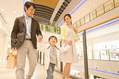 Boy and Parents Shopping in Mall
