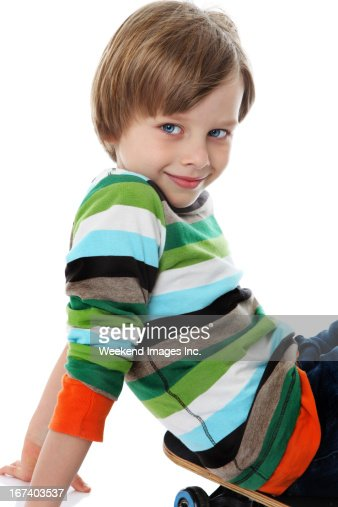 Boy and skateboard : Stock Photo