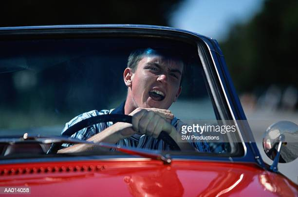 Boy Angry While Driving His Car