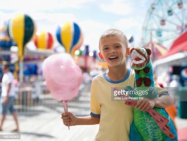 Boy at amusement park