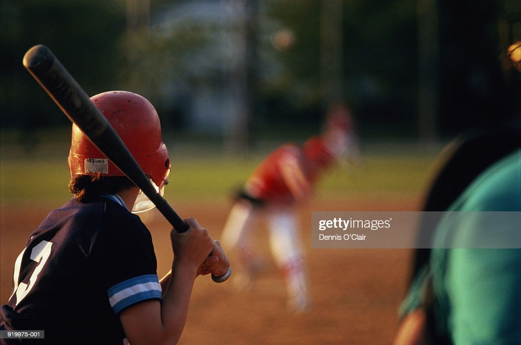 Boy at bat during little league baseball game : Stock Photo