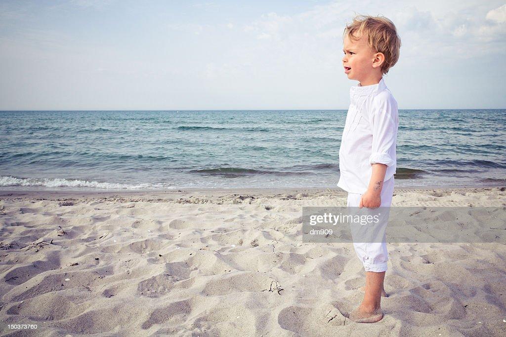 Boy at beach : Stock Photo