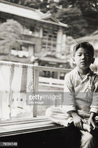 Boy at home in pajamas : Stock Photo