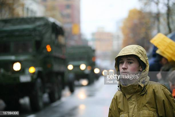 Boy at Remembrance Day Parade