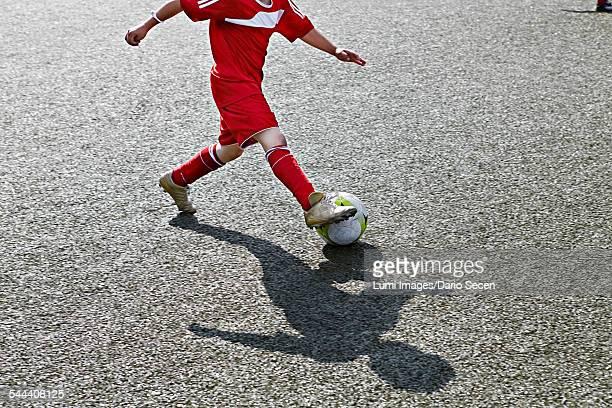 Boy at soccer training, Munich, Bavaria, Germany