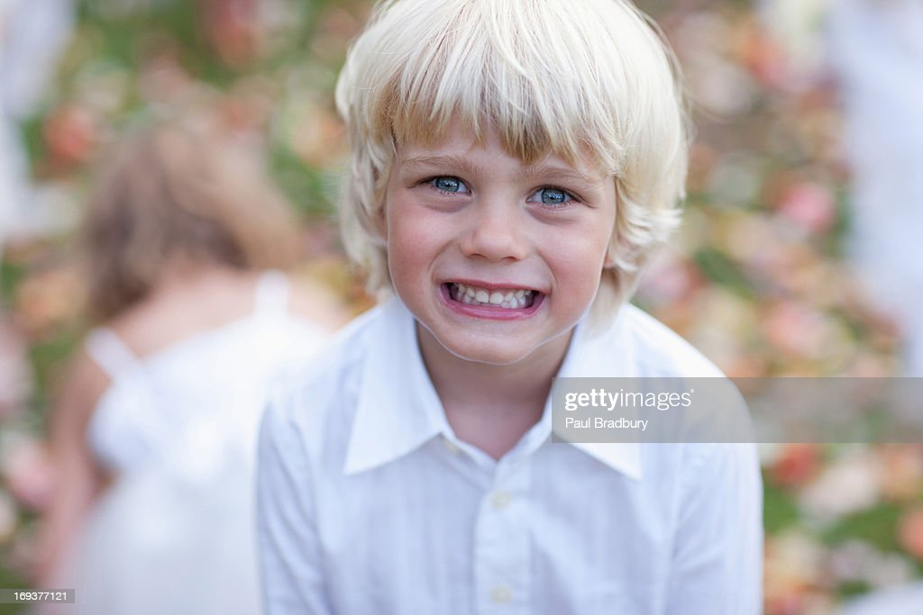 Boy at wedding reception : Stock Photo