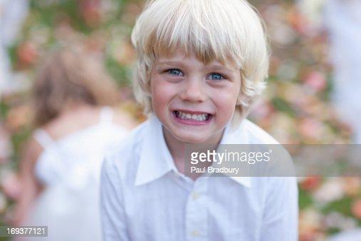 Boy at wedding reception : Stock Photo