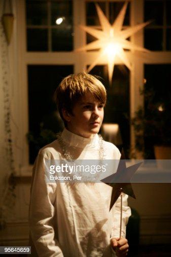 Boy attendant on Lucia, Sweden.
