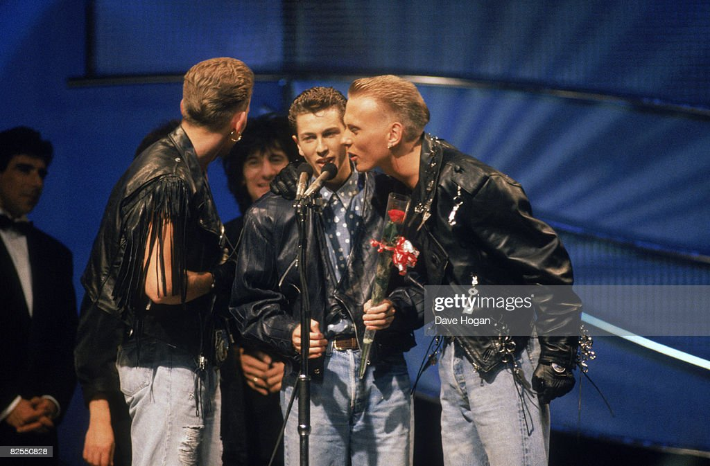Boy band Bros accepting their award for British breakthrough act at the BRIT Awards ceremony at the Royal Albert Hall London 18th February 1989 Left...