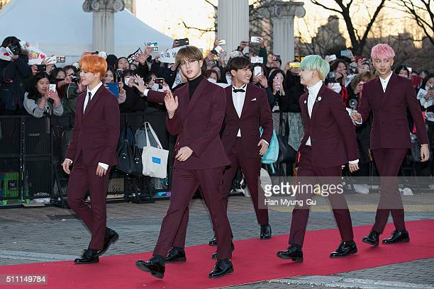 Boy band BTS attends the 5th Gaon Chart KPop Awards on February 17 2016 in Seoul South Korea
