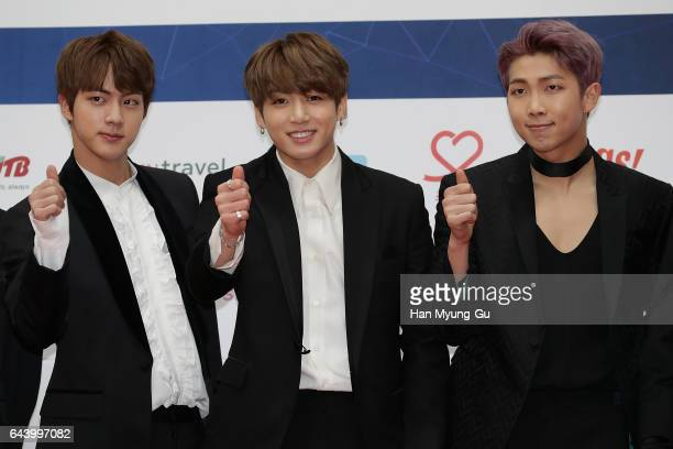 Boy band BTS attends the 6th Gaon Chart KPop Awards on February 22 2017 in Seoul South Korea