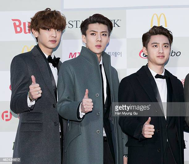 Boy band EXO attends the 4th Gaon Chart KPop Awards on January 28 2015 in Seoul South Korea