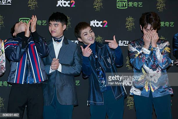 Boy band EXO attends the photocall for the 30th Golden Disc Awards at KyungHee University on January 21 2016 in Seoul South Korea