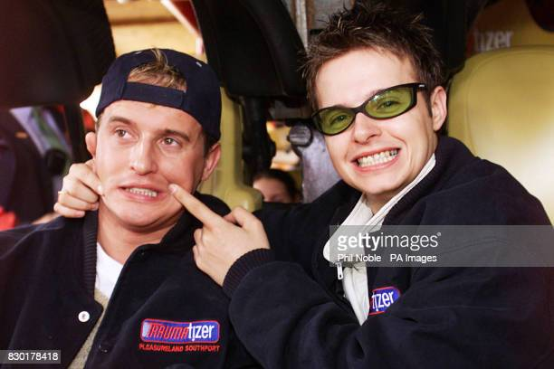 911 boy band members Jimmy Constable and Lee Brenan try out the new Traumatizer ride the tallest and the fastest looping roller coaster in Britain at...