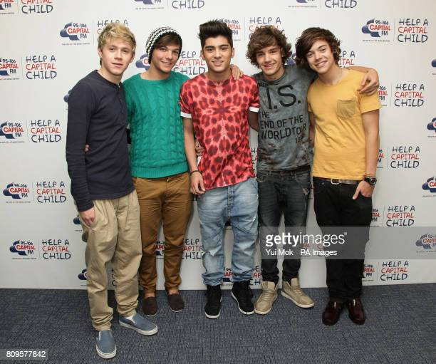 Boy band One Direction Niall Horan Louis Tomlinson Zayn Malik Liam Payne and Harry Styles during a photocall for Capital FM's Help A Capital Child...