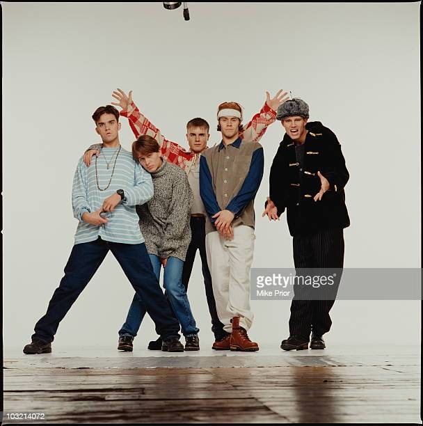 Boy band Take That posed in London in 1993 LR Robbie Williams Mark Owen Gary Barlow Howard Donald Jason Orange