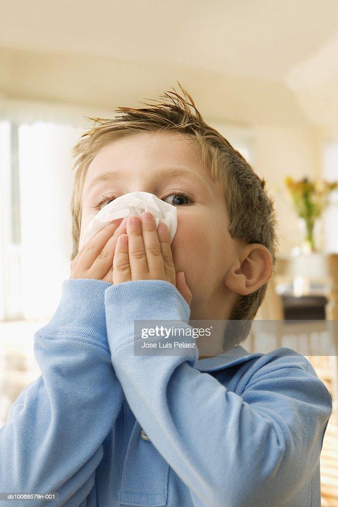 Boy (3-4) blowing nose, portrait, close-up : Stock Photo