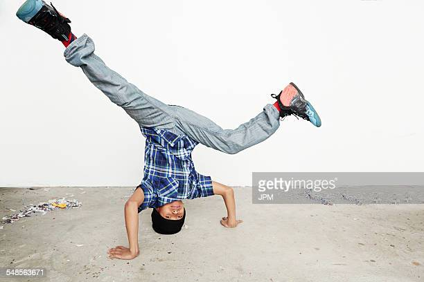 Boy breakdancing
