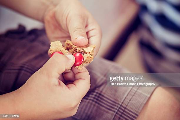 Boy breaking cookie with his fingers