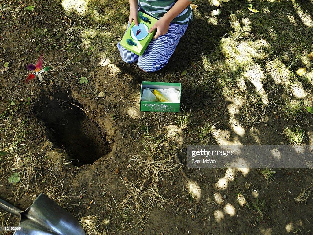Boy burying dead bird