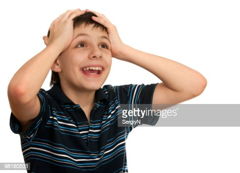 Boy can't believe his lottery winning : Stock Photo