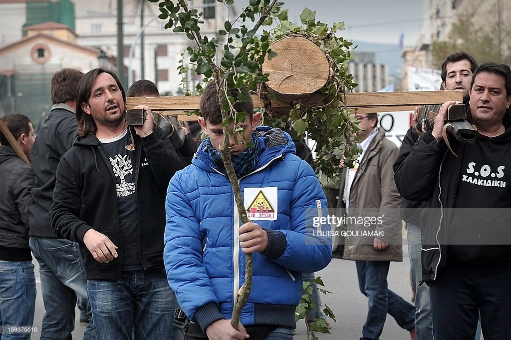 A boy carries a tree branch on January 12, 2013 in the center of Athens during a demonstration against a Canadian gold mining investment in the northern region of Halkidiki that is feared to be causing irreversible damage to the local environment. A number of citizens' groups, backed by the radical leftist party Syriza that is now the second largest group in parliament, have been trying to scupper the project since 2011, when the government allowed Hellenic Gold -- a subsidiary of Canadian firm Eldorado Gold -- to dig in the area. AFP PHOTO/ LOUISA GOULIAMAKI