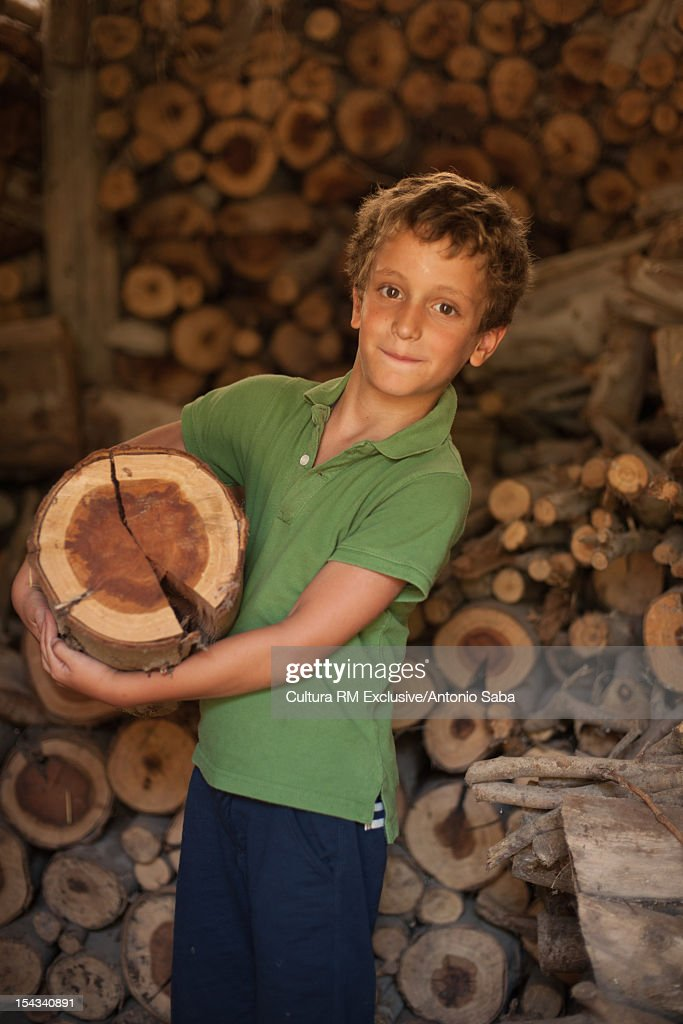 Boy carrying chopped log in shed : Stock Photo