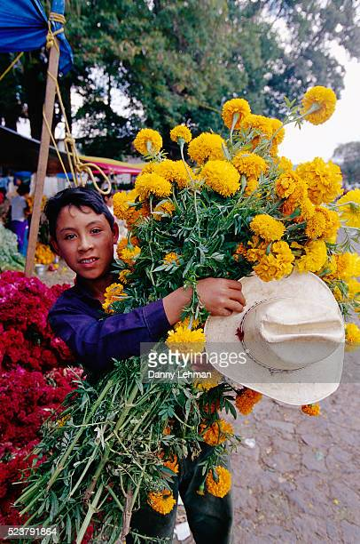 Boy Carrying Flowers for Day of the Dead