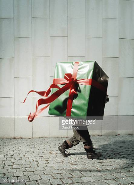 Boy (4-6) carrying large present