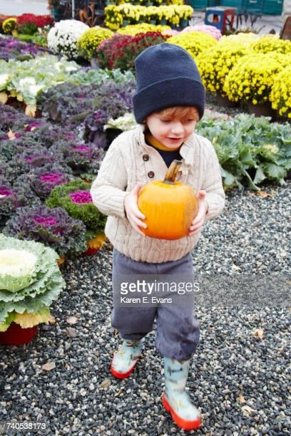 Boy carrying pumpkin in garden centre
