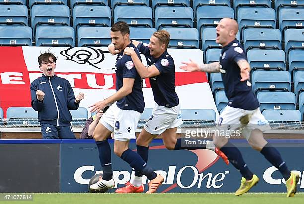 A boy celebrates Lee Gregory's of Millwall goal during the Sky Bet Championship match between Millwall and Derby County at The Den on April 25 2015...