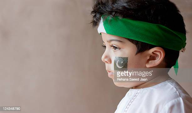 Boy celebrating Pakistan independence day