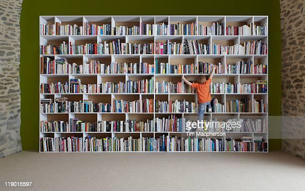 Boy climbing bookshelves