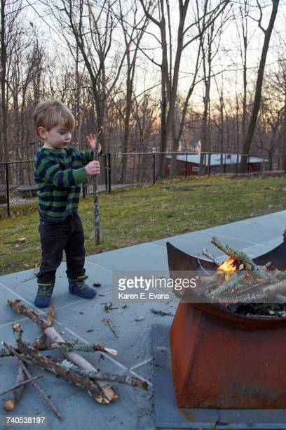 Boy collecting firewood for patio fire pit
