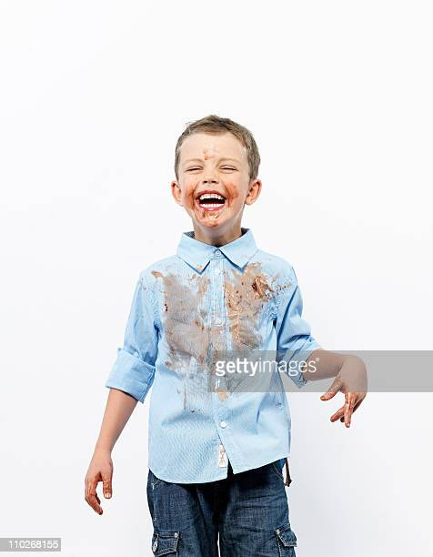 Boy covered in ice cream
