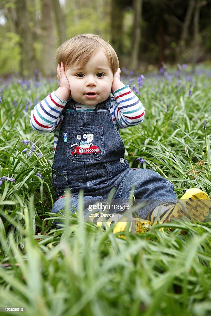 Boy covering his ears in meadow
