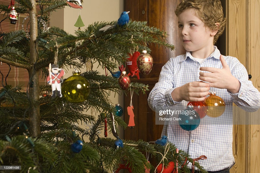 Boy (6 years) decorating the Christmas tree : Stock Photo