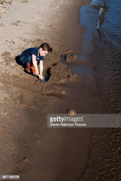 Boy Digging Sand on Beach