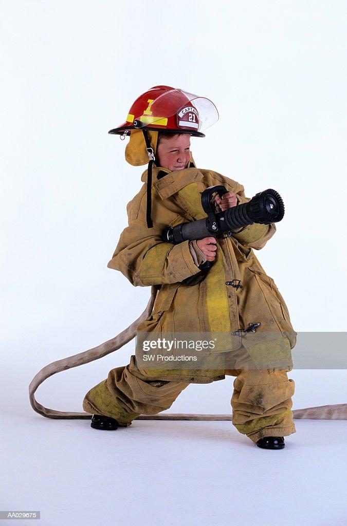 Boy Dressed as Firefighter