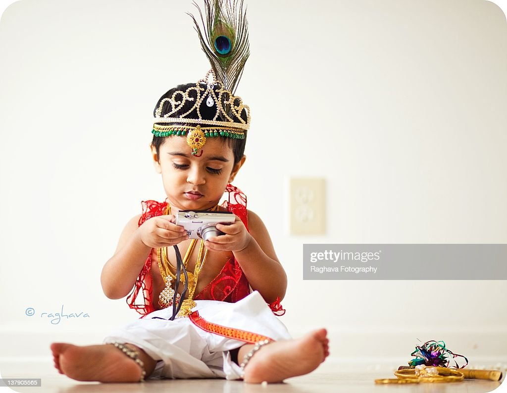 Boy dressed as Lord Krishna