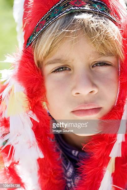 Boy dressed as Native American