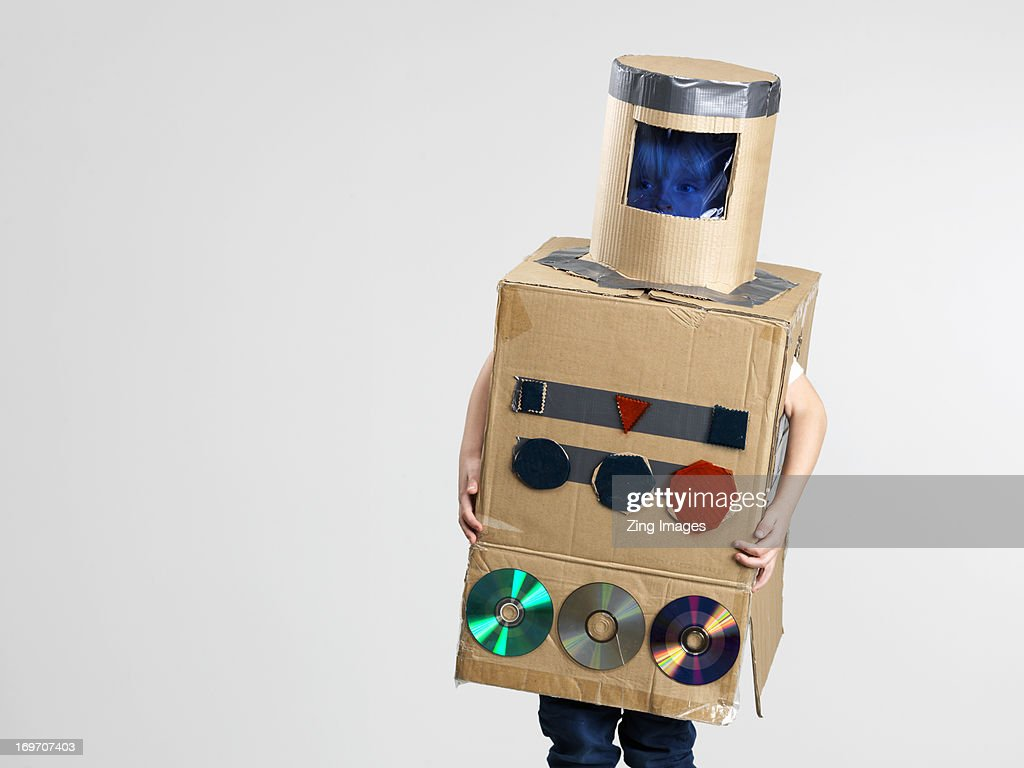 Boy dressed as robot : Stock Photo