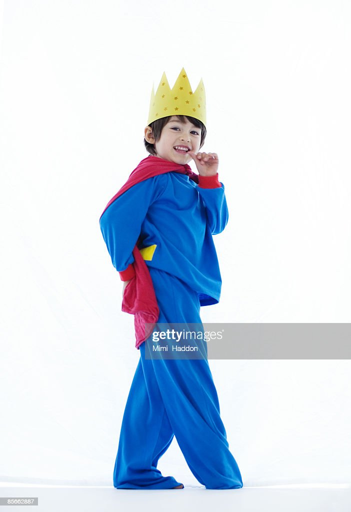 Boy dressed up as king : Stock Photo