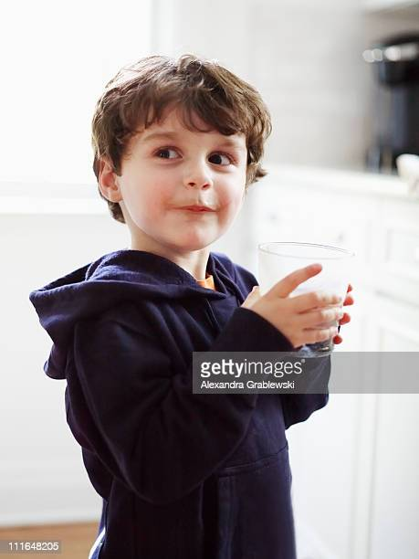Boy Drinking Chocolate Milk