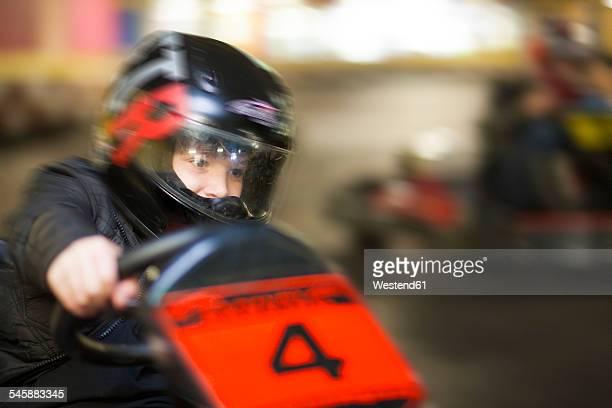 Boy driving kart