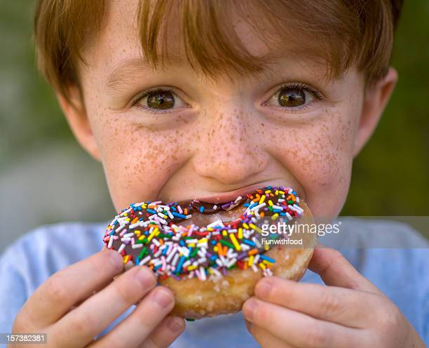 Boy Eating Chocolate Donut, Unhealthy Child Holding Breakfast Food