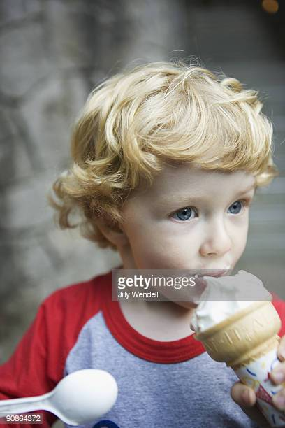 Boy eating ice cream cone
