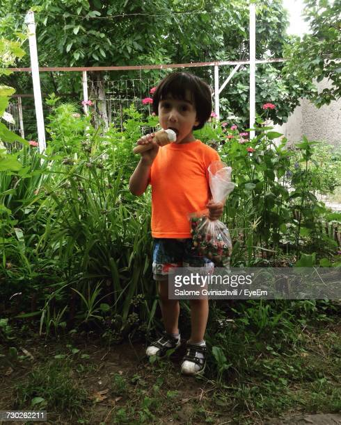 Boy Eating Ice Cream While Holding Candies By Plants