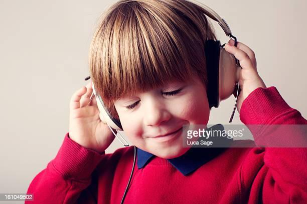 Boy enjoying his music