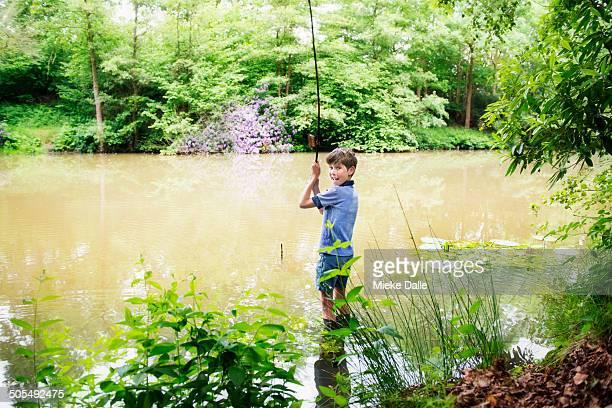 Boy fishing at the lake